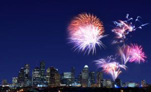 Firework display over downtown Houston